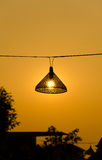 Bamboo lamp in the sunset Royalty Free Stock Photography
