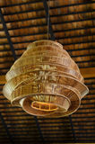 Bamboo lantern hang on roof. Big bamboo lantern hang on roof Stock Photo