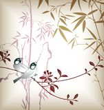 Bamboo Leaf and Bird 1 Stock Image