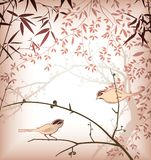 Bamboo Leaf and Bird 4 Royalty Free Stock Images