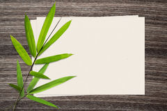 Bamboo leaf and and paper on wood background stock images