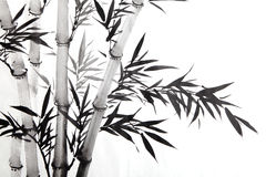 Bamboo leaf. Traditional chinese calligraphy art isolated on white background Stock Photography