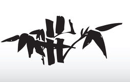 Bamboo leaves. Hand draw illustration of bamboo leaves silhouette Stock Images