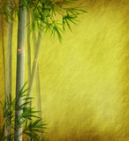Bamboo leaves on old grunge antique paper. Texture Stock Photo