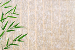Bamboo leaves on rice paper texture background Royalty Free Stock Photography