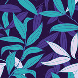 Bamboo leaves seamless  pattern. Bamboo leaves seamless pattern in cold color palette Royalty Free Stock Photo