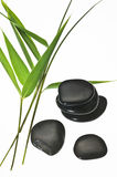 Bamboo leaves and shiny black stones Royalty Free Stock Images