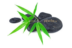 Bamboo leaves and zen stones Royalty Free Stock Photo