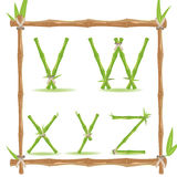 Bamboo Letter Alphabet Green Set F Vector Stock Photo