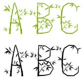 Bamboo letters, set, (mesh) royalty free illustration
