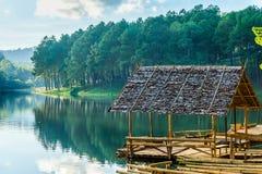 Bamboo lumber rafts in Huai Makhuea Som reservoir Stock Photos