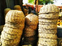 Bamboo Made Baskets In The Market stock photos