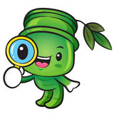Bamboo mascot examine a with a magnifying glass. Nature Characte Royalty Free Stock Photography