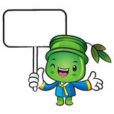 The Bamboo mascot holding a board. Nature Character Design Serie Stock Photo