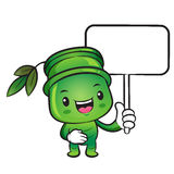 The Bamboo mascot holding a board. Nature Character Design Serie Royalty Free Stock Image