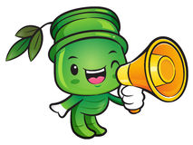 Bamboo Mascot the  Left hand is holding a loudspeaker. Nature Ch Stock Photography