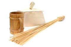 Bamboo massage broom  Stock Image