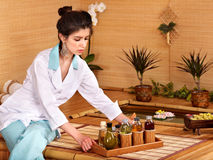 Bamboo massage at spa. Royalty Free Stock Image