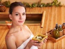 Bamboo massage at spa . Stock Photo
