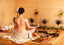 Bamboo massage at spa . Royalty Free Stock Images