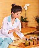 Bamboo massage at spa. Royalty Free Stock Image