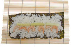 Bamboo mat for cooking sushi Royalty Free Stock Image