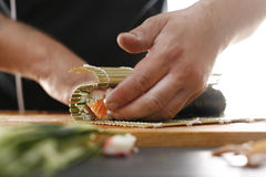Bamboo mat, preparing sushi Royalty Free Stock Images
