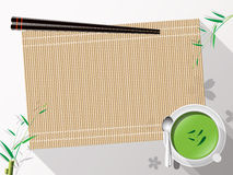 Bamboo mat tea cup on white background vector illustration. Stock Photography