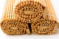 Bamboo mat, twisted into the form of the manuscript stock image