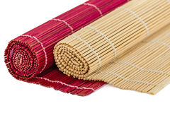Bamboo mats for asian food Royalty Free Stock Photography