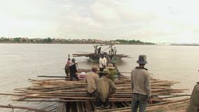 Bamboo, mekong , cambodia, southeast asia stock video footage