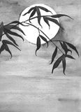 Bamboo and moon watercolor stock illustration