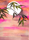Bamboo and moon watercolor Royalty Free Stock Images