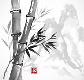 Bamboo and mountains, hand-drawn with ink Stock Photo