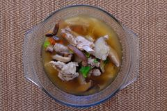 Free Bamboo Mushroom Soup Or Broth In The Glass Bowl Royalty Free Stock Photos - 121848038