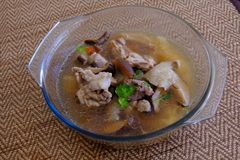Free Bamboo Mushroom Soup Or Broth In The Glass Bowl Royalty Free Stock Photography - 121848047