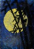 Bamboo night and moon Royalty Free Stock Photo