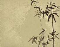 Bamboo on old grunge paper texture Royalty Free Stock Photo