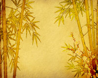 Bamboo on old grunge paper texture. Background Royalty Free Stock Photos