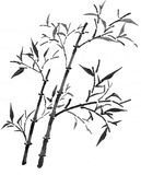 Bamboo. In oriental ink painting, illustration in greyscale mode royalty free illustration
