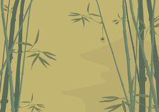Bamboo and pagoda vector illustration