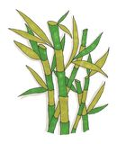 Bamboo painted with markers on white paper royalty free stock image