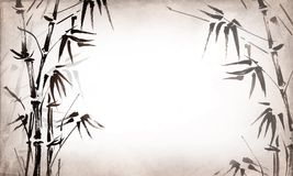 Bamboo painted on textural grunge  horizontal background. Vector Stock Photos