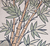 Bamboo painting on chinese temple wall Stock Photo