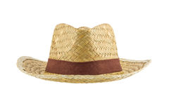 Bamboo panama hat isolated on white background Stock Photos