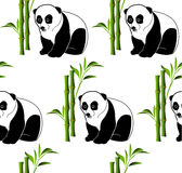 Bamboo panda seamless vector pattern background Royalty Free Stock Images