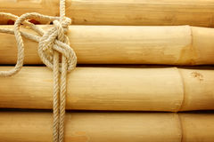 Bamboo panel with a rope tied. Royalty Free Stock Photography