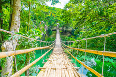 Bamboo pedestrian suspension bridge over river Royalty Free Stock Images