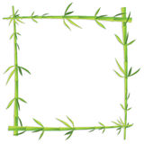 Bamboo photo frame on blank Royalty Free Stock Photos
