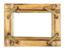 Bamboo photo frame isolated on white background Stock Images